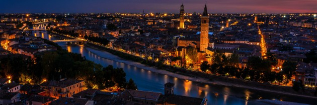 panorama di verona notte luci veneto italia foto panoramica fotografie di verona