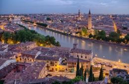 panorama di verona tramonto luci veneto italia foto panoramica fotografie di verona